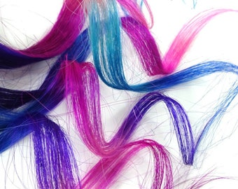 """Set of FIVE 12"""" Clip-In Human Hair Streaks, Cotton Candy Tie Dye - black pink purple turquoise blue ombre hair extensions"""