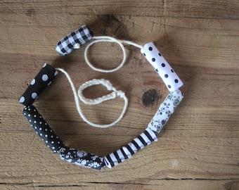 Collar, collar tela, collar de algodón y telas,collar de tela, collar blanco y negro, collar antialergico, collar sin niquel,dia de la madre