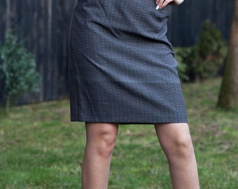 Skirt with front pockets 3/4, gray, handmade, size L, Straight, Pencil, Suiting