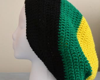 Jamaican slouchy crochet hat, Jamaican hat, men's crochet hat, women's crochet hat, flag