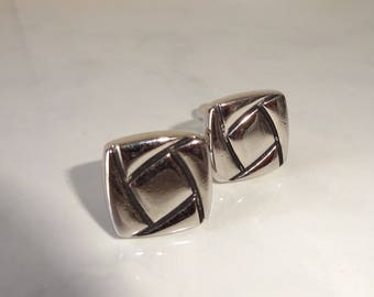 Vintage Cuff Links Square Silver Cufflinks