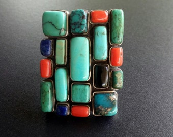 Large Handmade Sterling Silver Mosaic Statement Ring - Multi Stone Boho Ring - Turquoise Lois and Coral Boho Statement Ring - Size 9