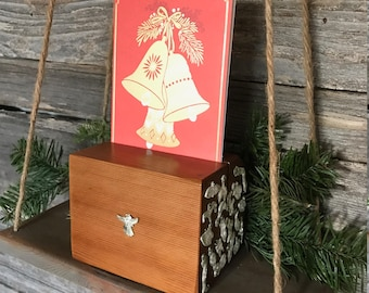 Cedar Block Card Holder with Milagros | Christmas Decor Holder | Christmas Card Holder | Holiday Decor