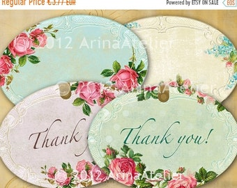 SALE - 40% OFF Shabby chic Roses Labels - Tags - Collage Sheet Download - Set of 2 Sheets - Hang Tags - Digital Labels - Shabby chic Labels