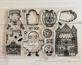 halloween stamps, halloween planner, skull, october daily, trick or treat, haunted house, gargoyle stamps, tombstone, grave stone stamps