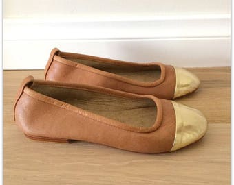 36 Sale size ZOE- Ballet Flats - Leather Shoes - 36 - Tan & Gold Leather. SALE size 36 ONLY