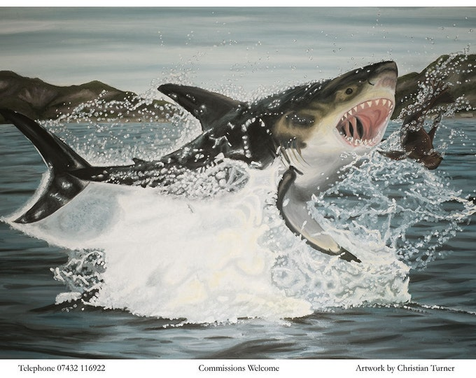 Shark Attack - original oil painting on streteched canvas by Christian Turner