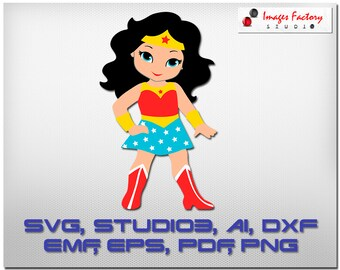Wonder Woman Girl - svg Cuttable Cricut Design Space, Silhouette Digital Cut Files Instant Download, svg dxf studio3  superhero girl minus