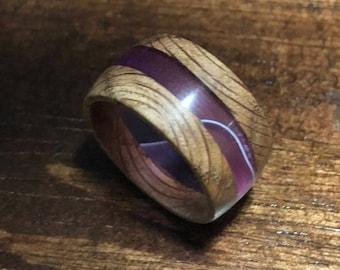 Recycled Australian Acacia Wood and Acrylic Purple/See-Thru Ring