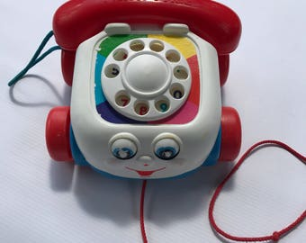 Fisher Price Telephone Pull Toy, Vintage 1993 #2251 Learning Tool, Original Pull String