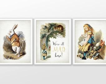 Alice in Wonderland Art Set of 3 - We're All Mad Here - Nursery Art - Nursery Decor - Baby Shower Gift #2354 - INSTANT DOWNLOAD