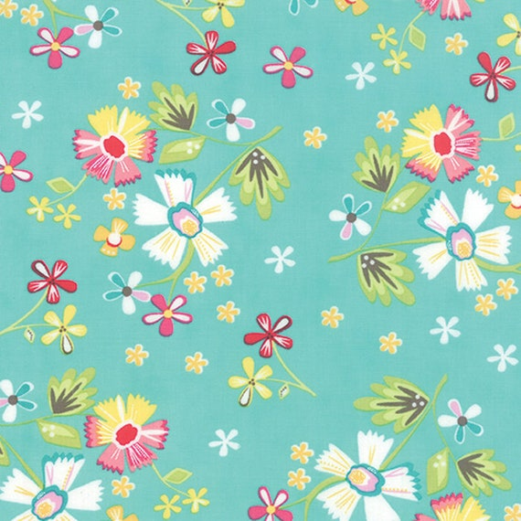 Corey Yoder Little Miss Shabby White Flowers on Cottage Aqua With Dots and Leaves, 29000-18