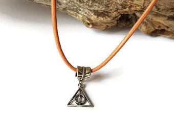 Coral leather cord necklace and triangle pendant