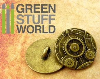 """8x Steampunk Buttons GEARS MECHANISM - Antique Gold  - 7/8"""" (22mm) - Metal Shank button"""