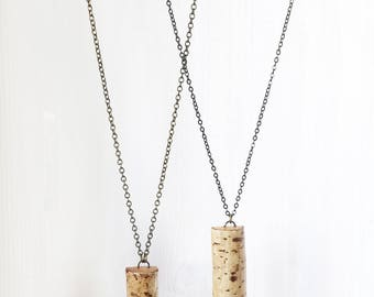 LONG BRANCH SLICE || nature jewelry branch slice pendant necklace