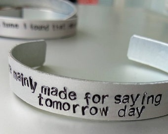Arctic Monkeys, Alex Turner handstamped bracelet, bangle, jewellery, night were mainly made for saying things that you cant say tomorrow day