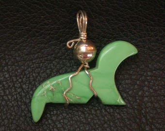 Green Variscite Seal Pendant with Sterling Silver Ball/