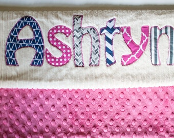 Monogrammed Baby Blanket in MIDNIGHT, Fuchsia Pink Dot Minky and White Chenille, Personalized with Your Baby Girl's First Name