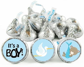 Set of 108 - Stork and Teddy Baby Shower Stickers for Hershey's Kisses. Stork Shower Favors - Teddy Kiss Stickers - #IDBBS605