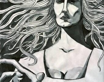 Woodcut Witch Art Print