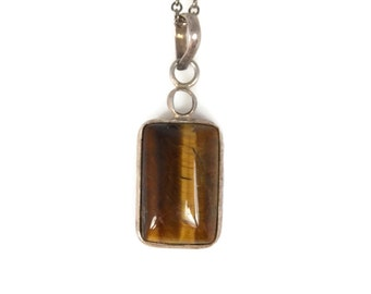 1950s Double Sided Tigers Eye Necklace Pendant Sterling Silver Hand Crafted