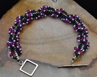 Fuchsia Spiral Rope Bracelet