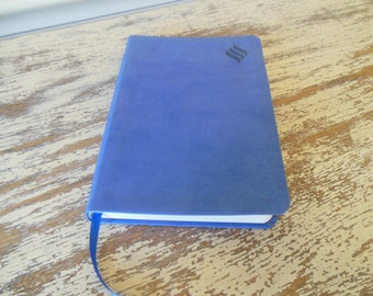 New Testament--Blue Leather with Ribbon Bookmark