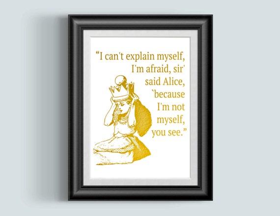 Alice in Wonderland Quote Wonderland Print Alice Quote Gold