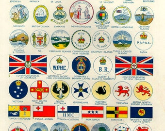 WORLD FLAGS PRINT 1950s 2407 illustrations lithograph paper print ephemeral upcycle recycle ephemera old mid century