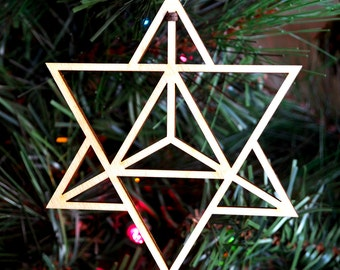 Star Tetrahedron Holiday Ornament - Laser Cut Wood Wooden Merkaba Duality Sacred Geometry Symbol Xmas Christmas