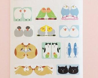 Parakeet / Java sparrow / Cat / 16 stickers × 2sheets / pack / Index sticker / Planner Stickers /   Sticker Pack /  Planner Sticker