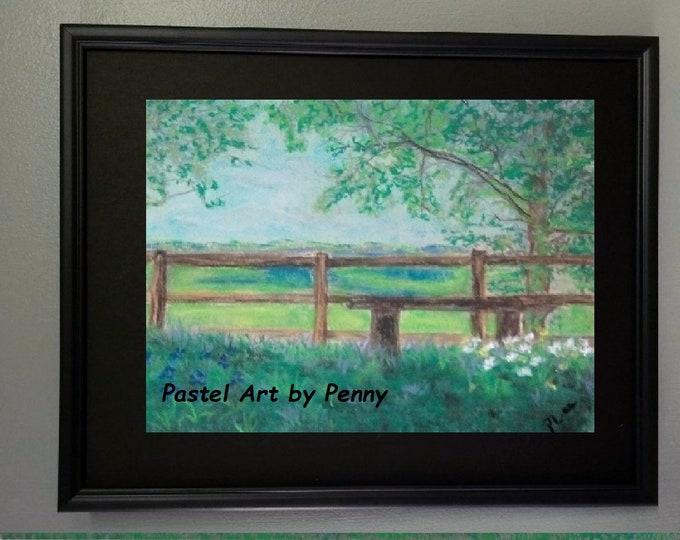 "Original Pastel Painting 8x10, Landscape Artwork, Fences in Art, ""Summertime"""