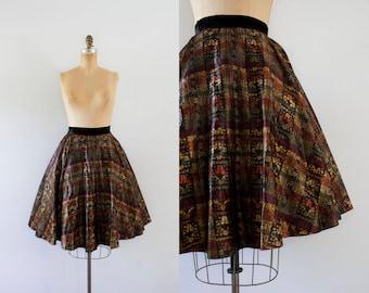 1950s Midnight Madness metallic velvet party skirt / 50s autumn beauty