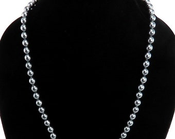 Vintage Faux Gray Pearl Long Strand Beaded Necklace Silver Clasp
