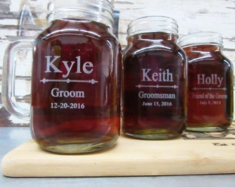 Groomsmen Gift - 7 Personalized Mason Jars