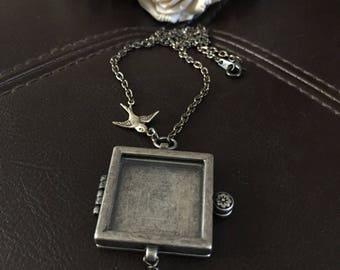 Bird photo locket necklace, Flower necklace, keepsake necklace, photo necklace