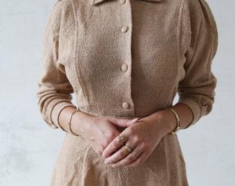 Vintage ivory color dress - collar dress - long sleeve dress - beige vintage dress - shirt waist dress - vintage work dress - early 70s