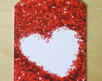 Glitter heart gift tags pack of 3