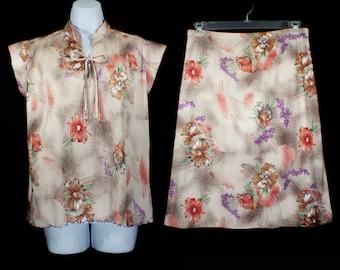 10 DOLLAR SALE---Vintage 70's 2 Pcs Set Floral Shirt Top & Skirt Size 12