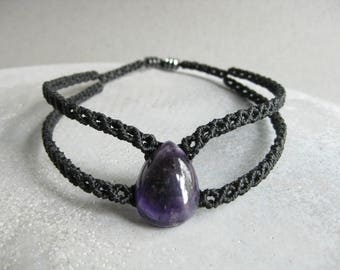 Amethyst Black Choker . Quartz Macrame Goth Necklace . Micro Macrame Jewelry . Design by .. raïz ..