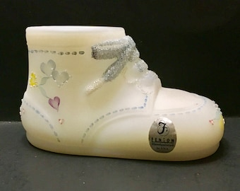Fenton Satin Glass Hearts Decorated Baby Boot Shoe Artist Signed
