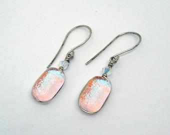Silver Dangle Earrings, Dichroic Earrings, Opal Glass Earrings, Sky Blue, Powder Blue, Lilac, Periwinkle