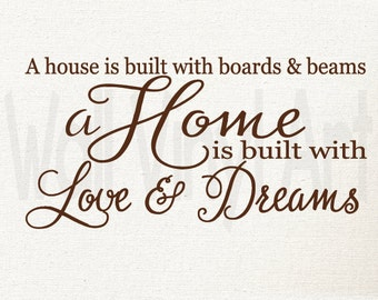 A house is built with boards and beams, a home is built with love and Dreams, Vinyl lettering Art, Vinyl Decal, Wall Decal, Wall Decor