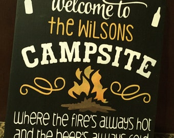 Pesonalized Welcome To Our Campsite/ Campsite Sign/Welcome Sign/wall decor/ Personalized Campsite sign/Custom Sign/ Wood sign