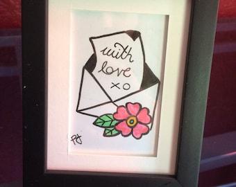 Mini framed love letter drawing