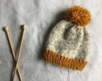 Hand Knitted Newborn Baby Beanie / Baby Beanie With Pom Pom / Baby Beanie / Knit Baby Hat / Mustard and Oatmeal Knit Baby Hat