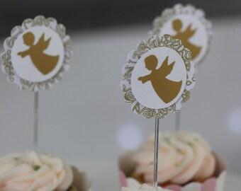 Angels Cupcake Topper | Great for Baptisms, Christening. White and Gold. Damask Motif