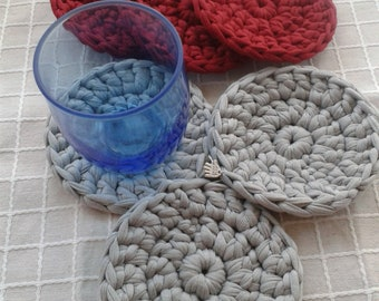 "Fabric Coasters ""cloth"", handmade (crochet), lot of 6 units"
