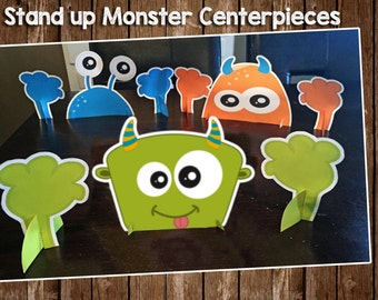 monster birthday party, birthday centrepiece, monster birthday centerpiece, monster table topper, printable table decoration, stand up