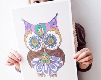 Owl Art Print  | Owl Nursery